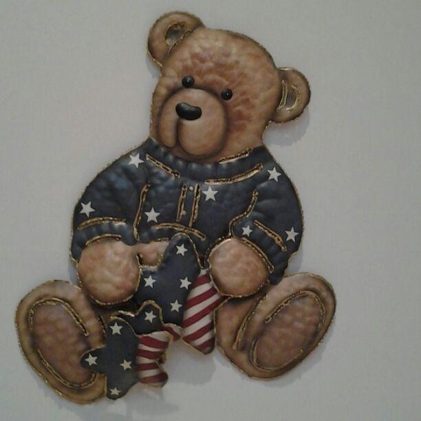 USA Teddy Bear Plaque