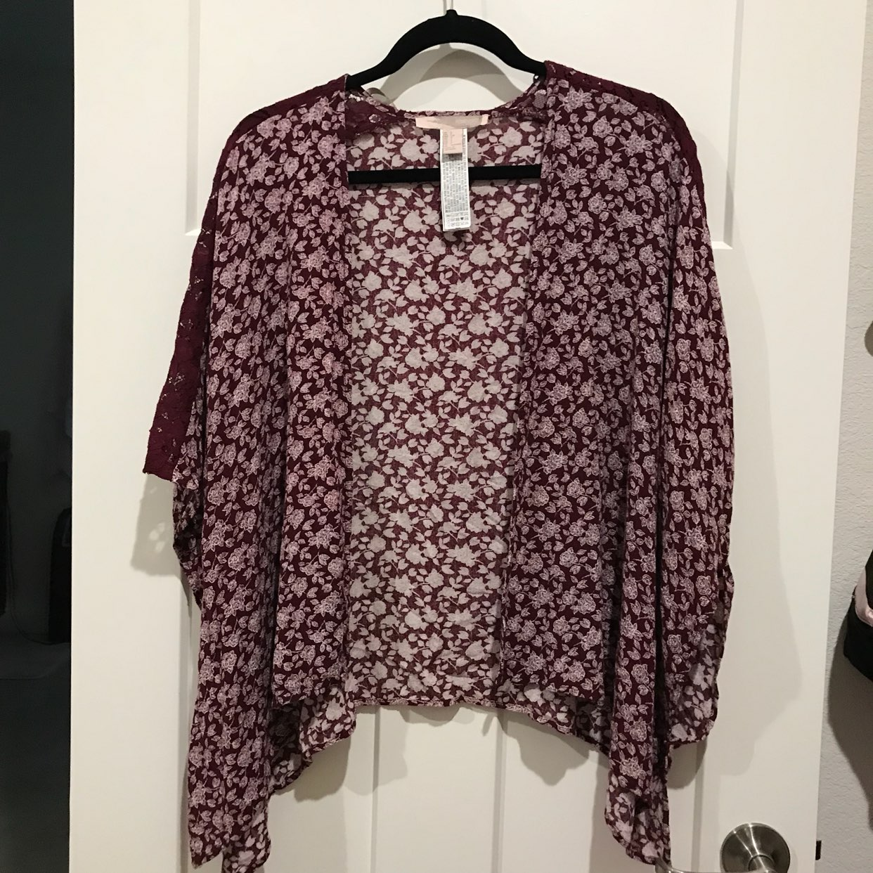 Maroon Burgundy Floral Kimono Cardigan - Mercari: BUY & SELL ...