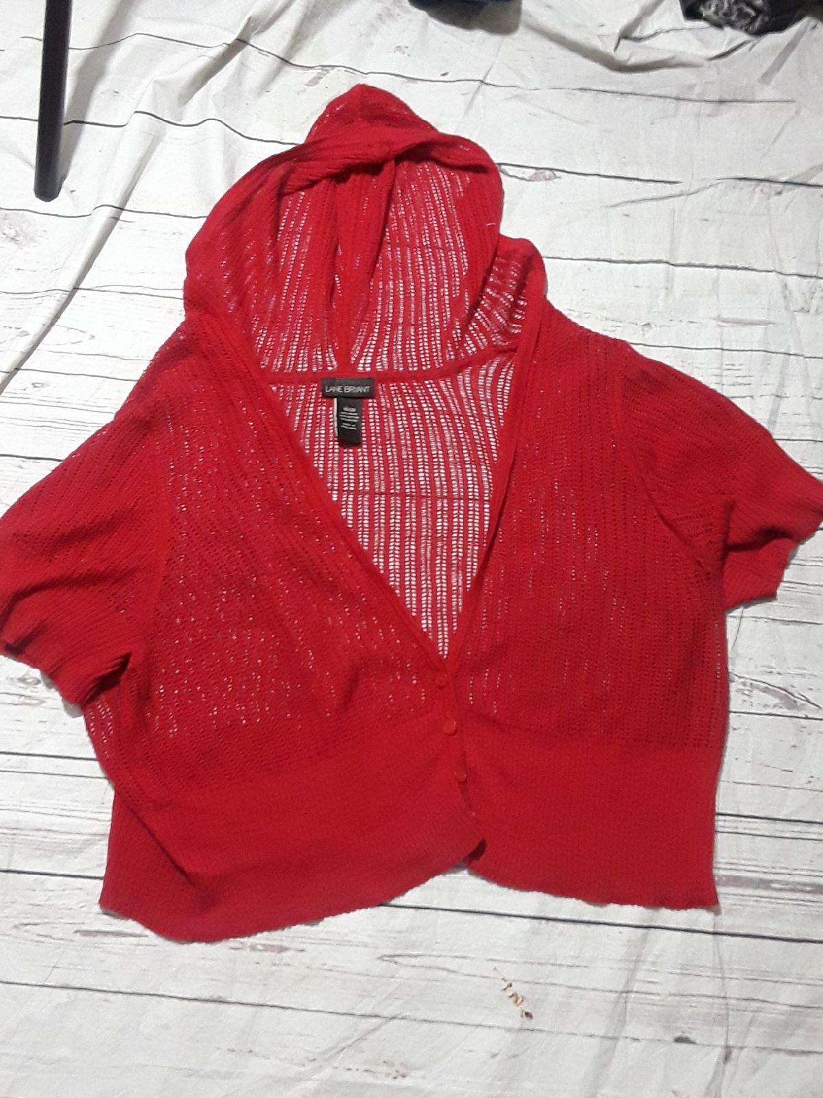 Lane Bryant red hooded sweater /shrug - Mercari: BUY & SELL THINGS ...