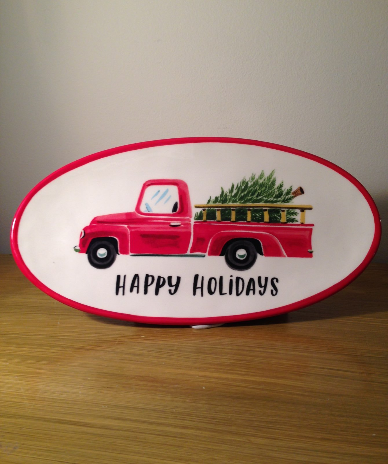 Red Pickup Truck With Tree Oval Magenta