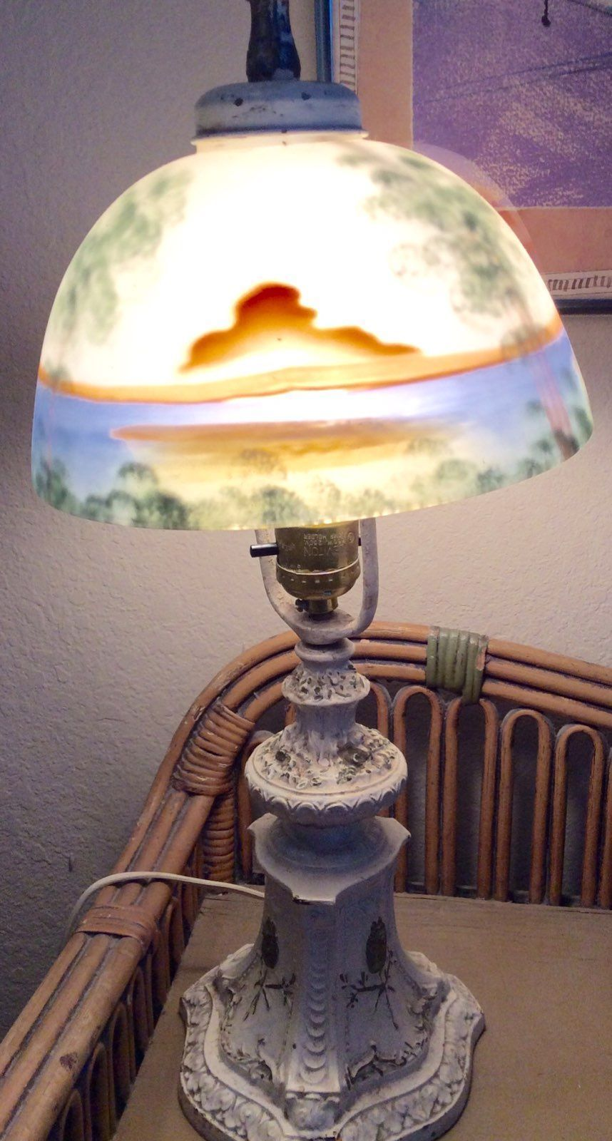 Reverse hand painted table lamp early mercari buy sell things reverse hand painted table lamp early geotapseo Gallery