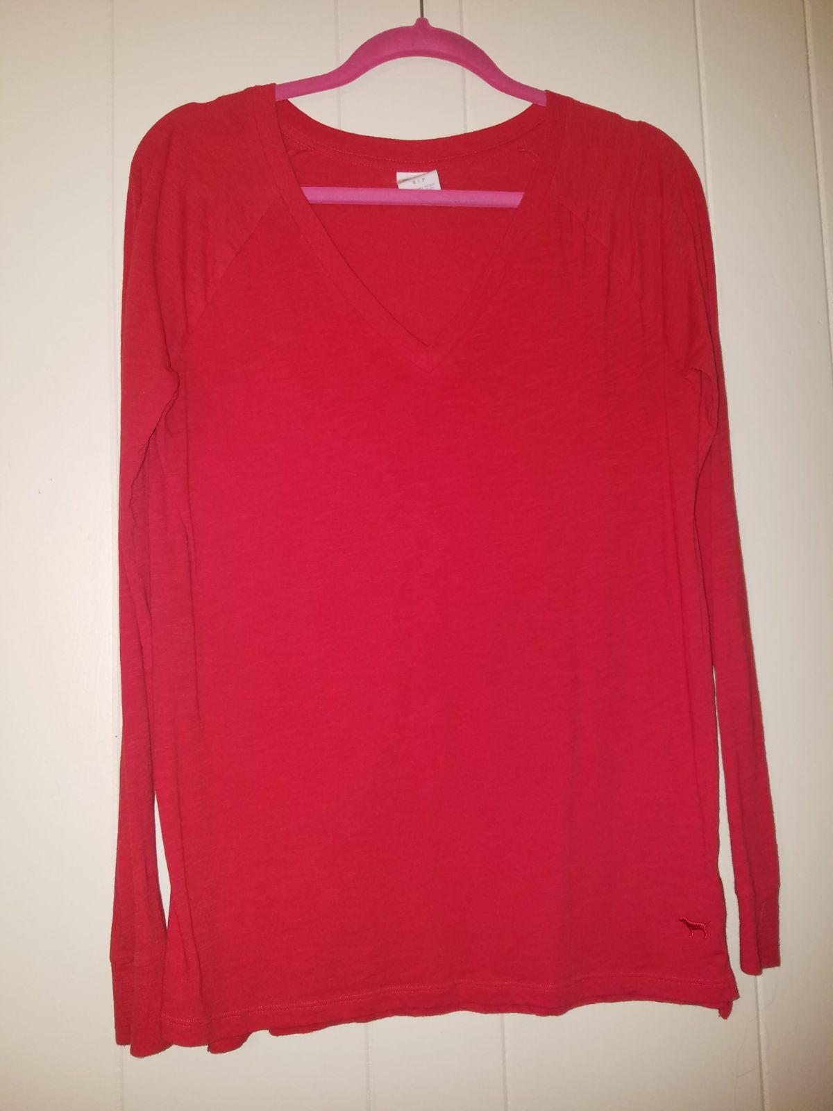 S VS PINK red vneck long sleeve - Mercari: BUY & SELL THINGS YOU LOVE