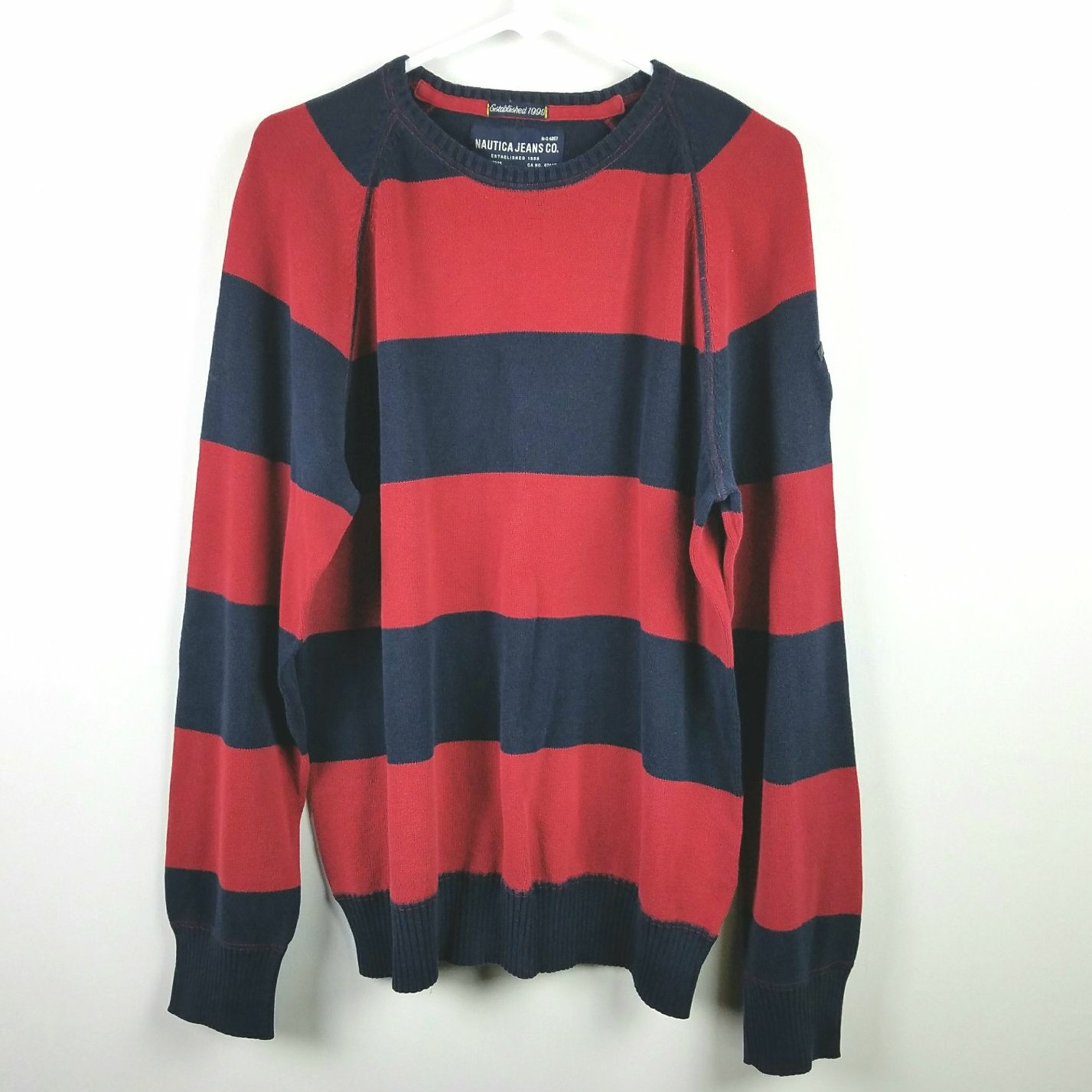 Nautica Red Navy Striped Sweater Sz L - Mercari: BUY & SELL THINGS ...