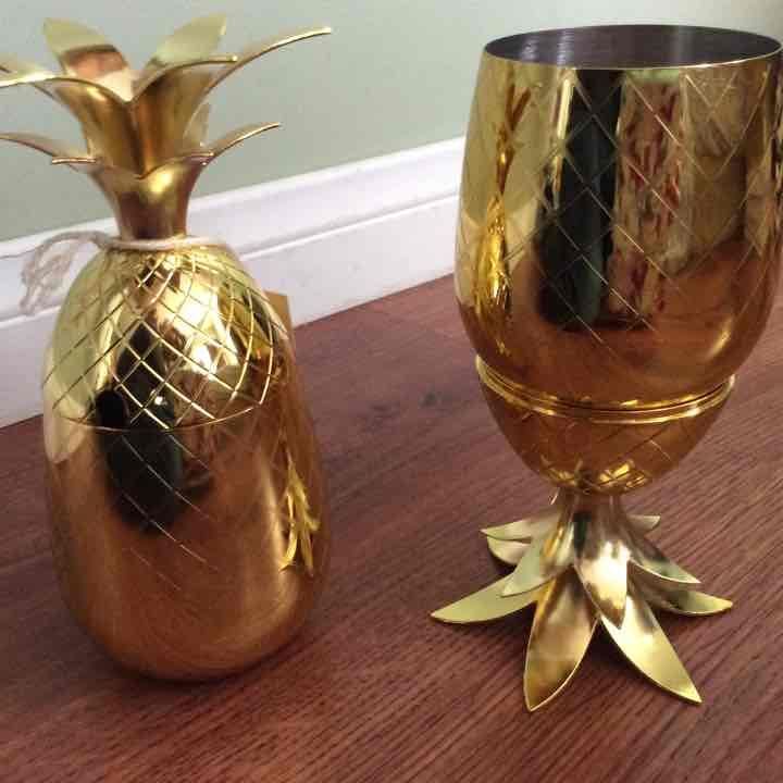 Pineapple gold metal tumblers set of two