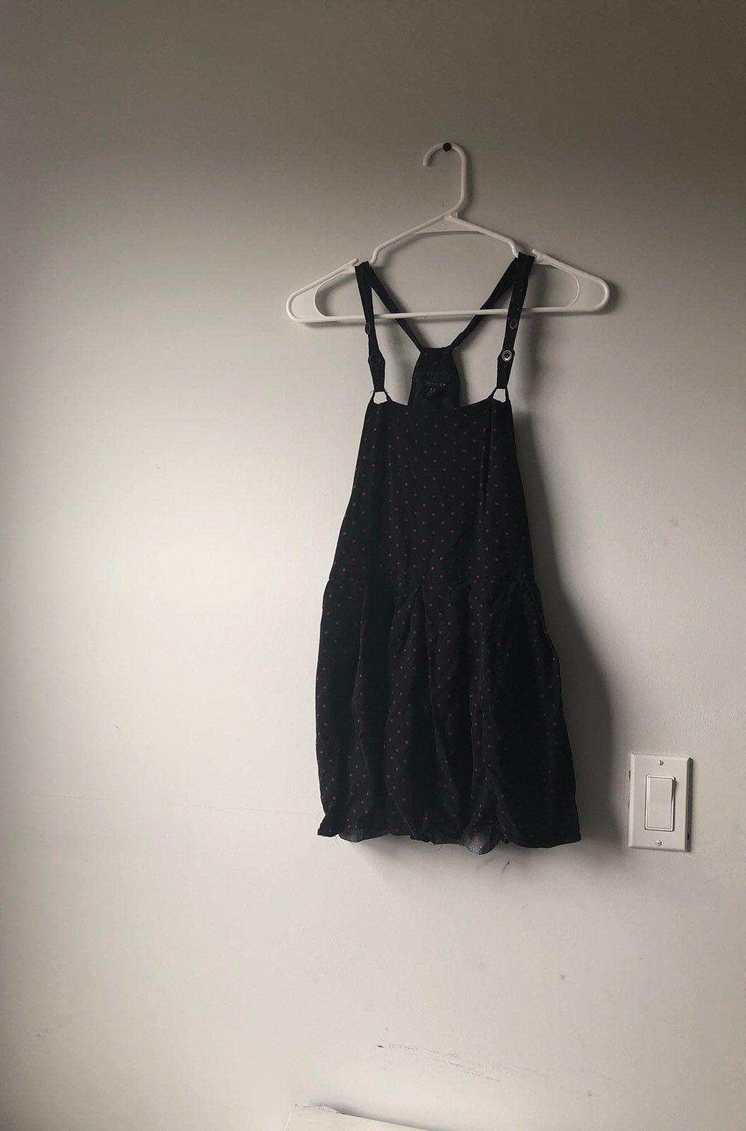 Black And Pink Polka Dot Overall Dress