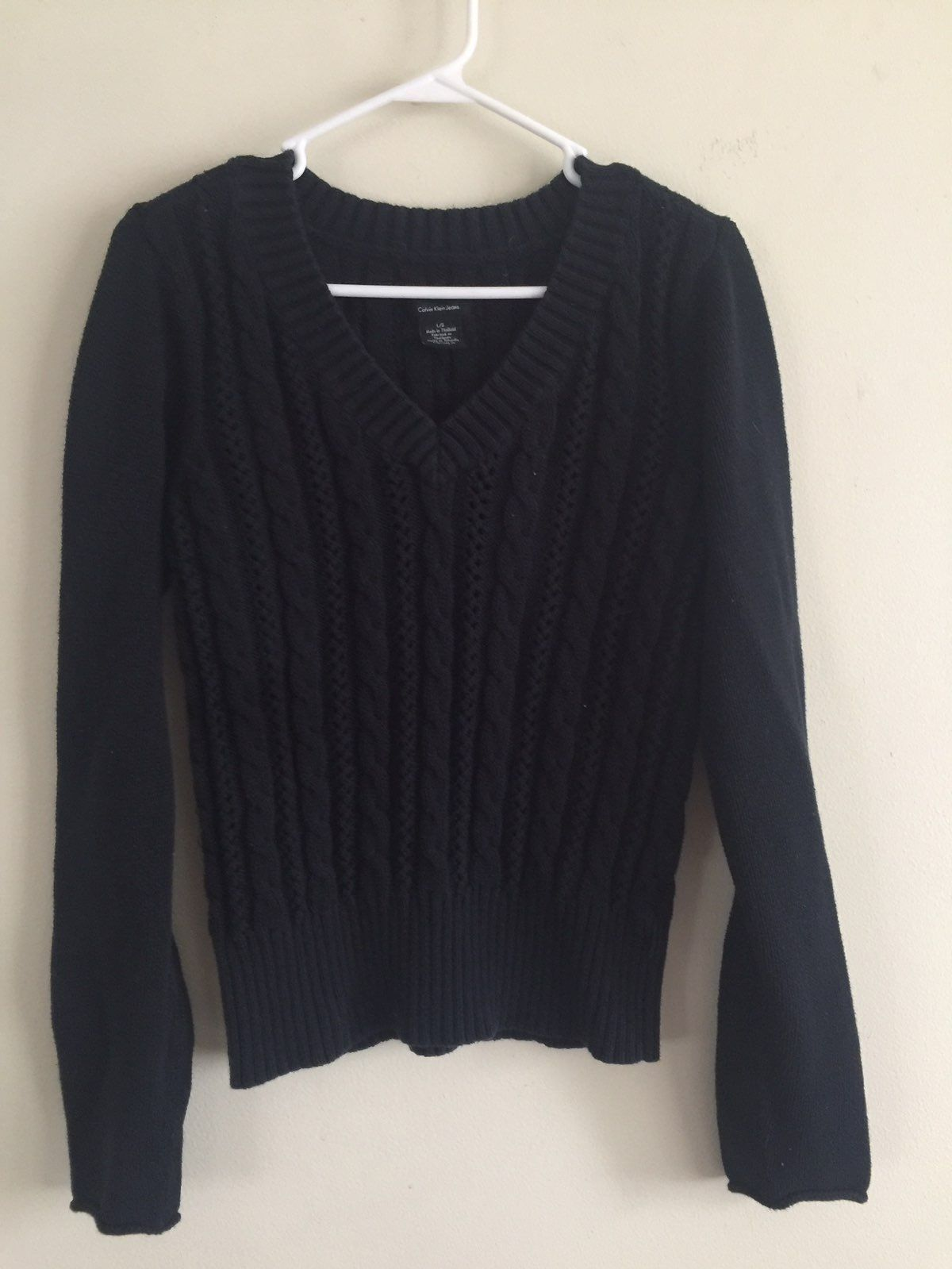 Calvin Klein V Neck Cable Knit Sweater - Mercari: BUY & SELL ...