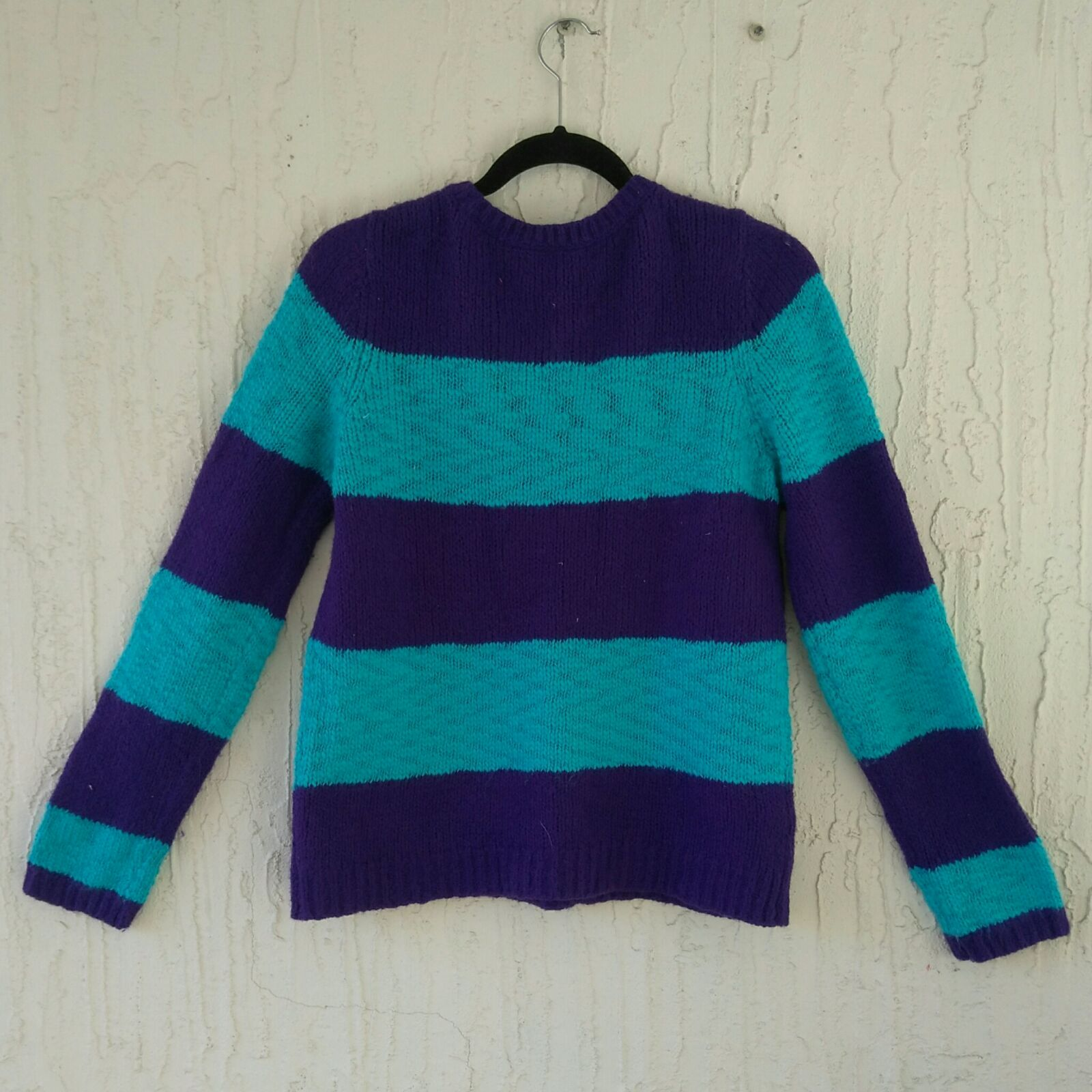Blue Purple Striped Knit Sweater Size L - Mercari: BUY & SELL ...