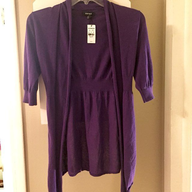 Express Purple Sweater Cardigan XS NWT - Mercari: BUY & SELL ...