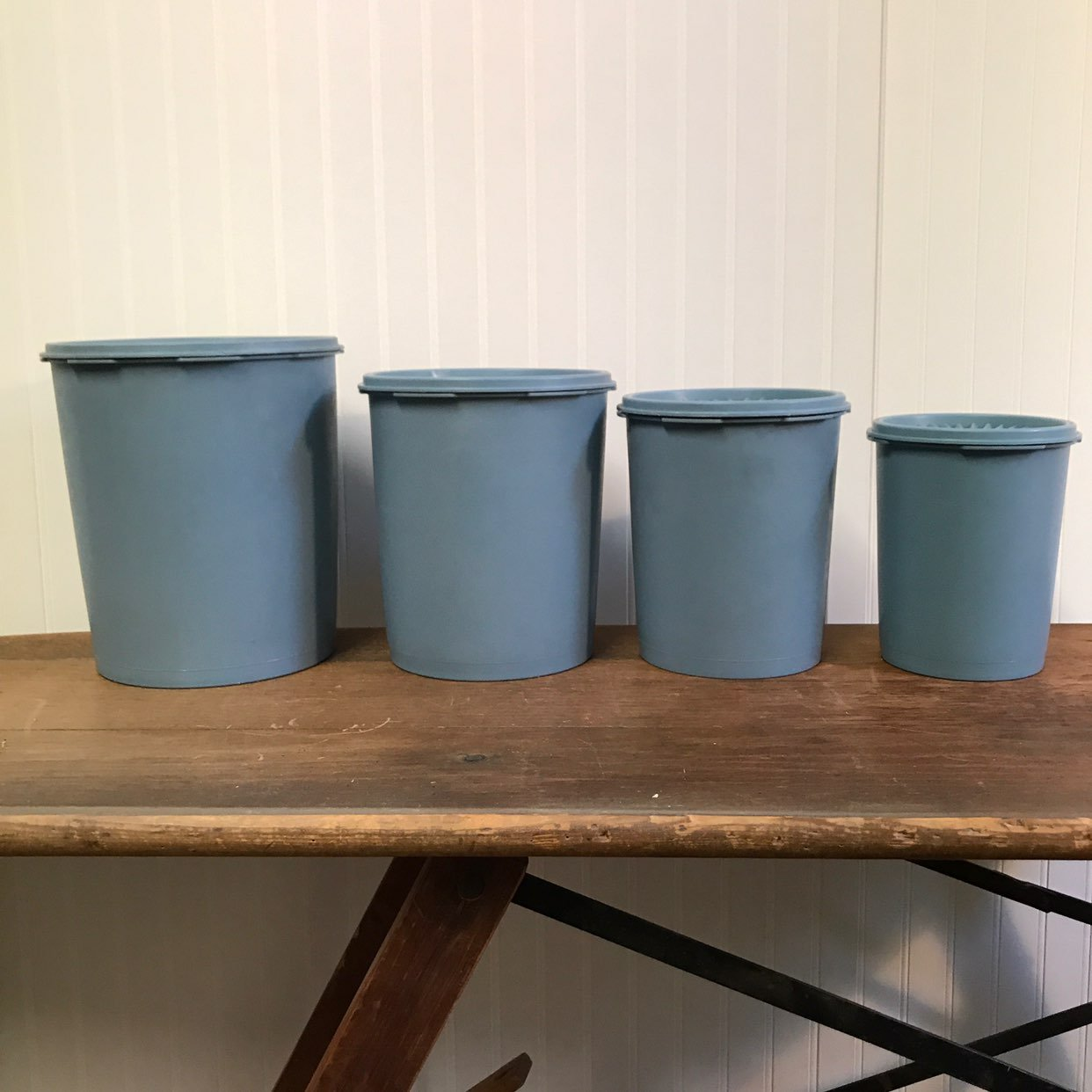 Vtg Blue Tupperware Container Set