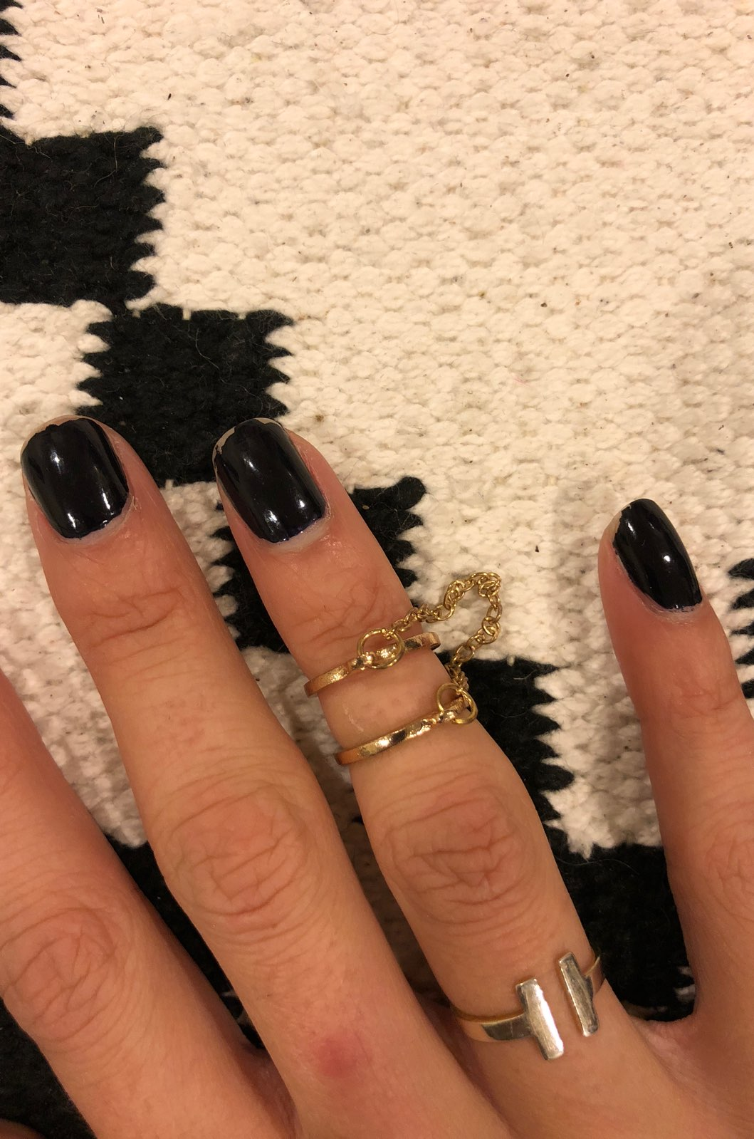 New Gold Chained Ring Set
