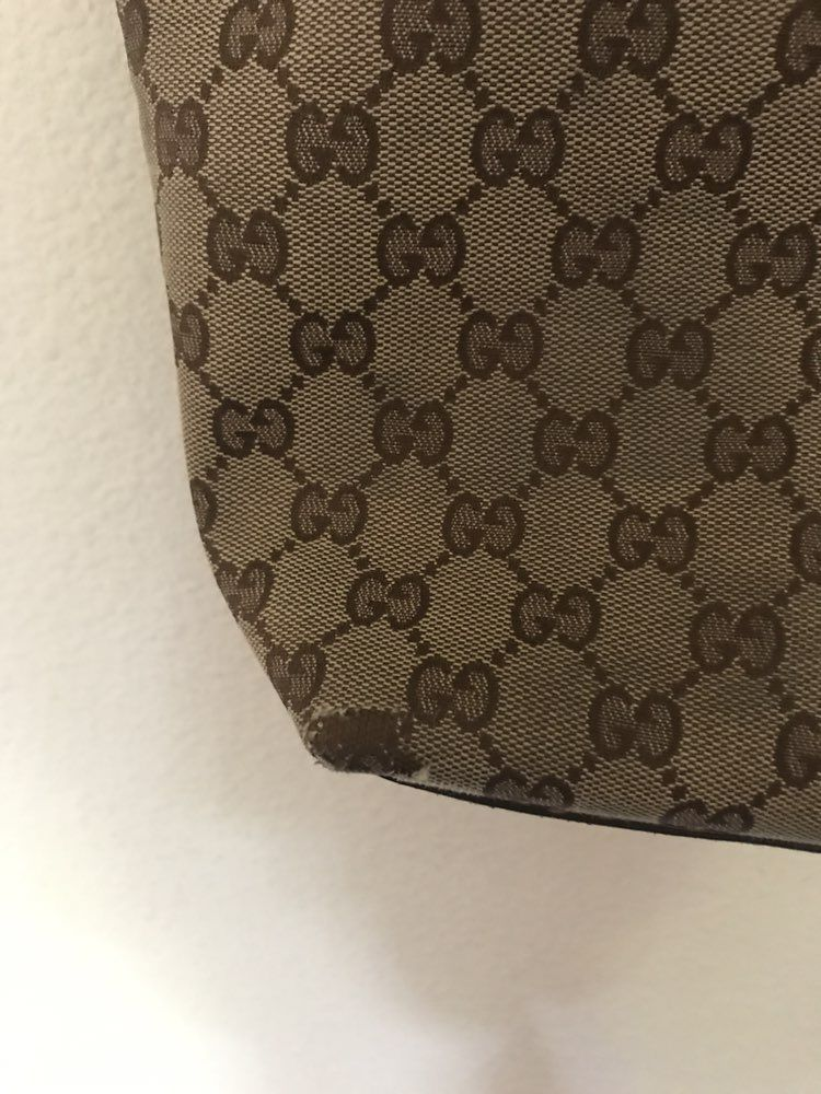 Gucci Canvas Bucket Hobo Tote Purse