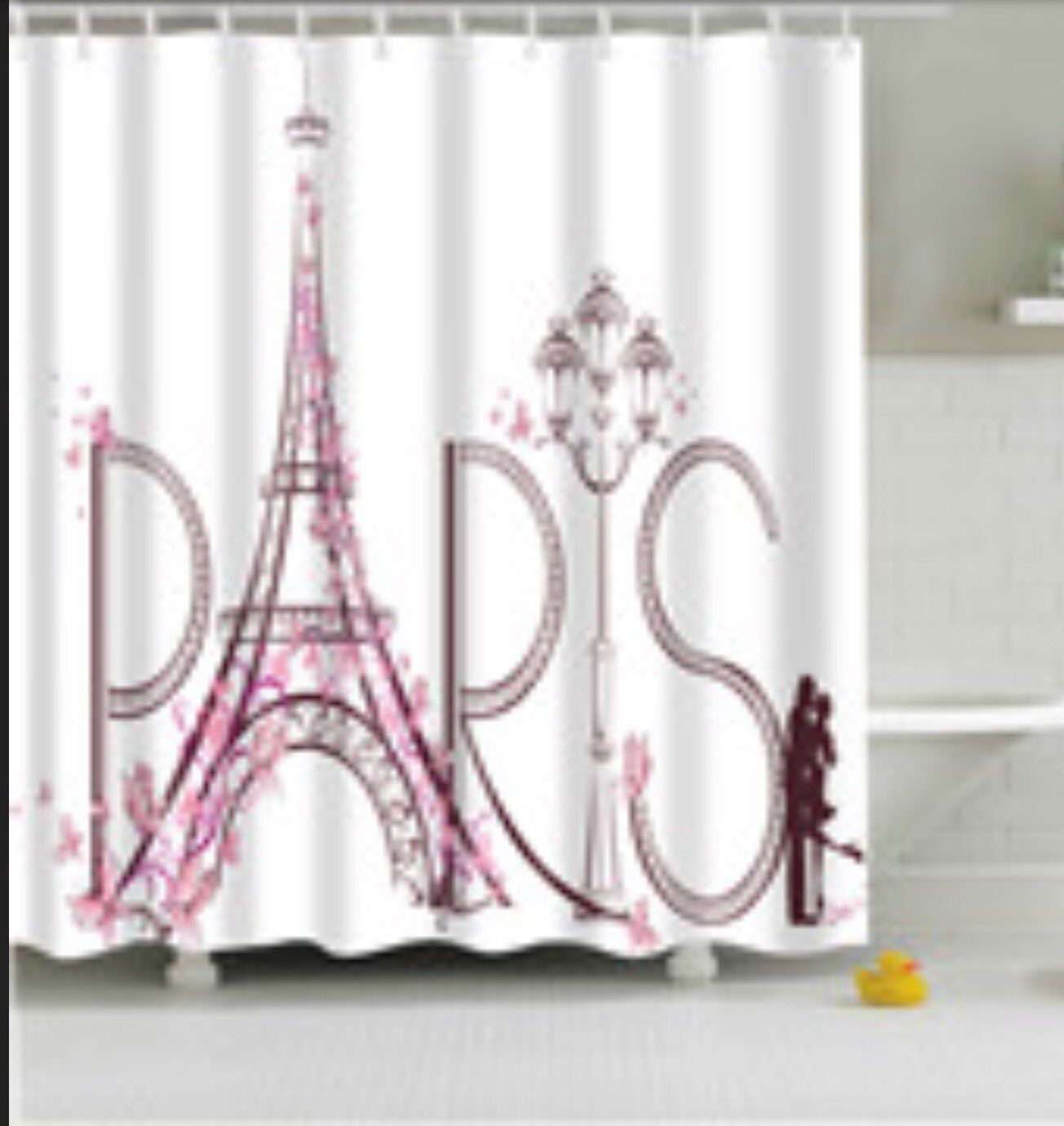 Attractive Paris Fabric Shower Curtain