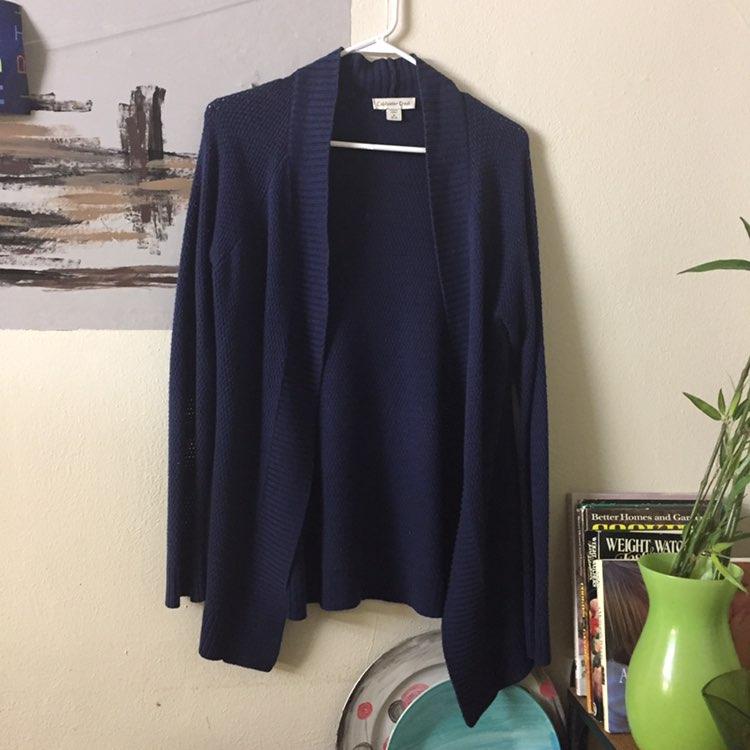 Coldwater Creek Navy Blue Cardigan Knit - Mercari: BUY & SELL ...