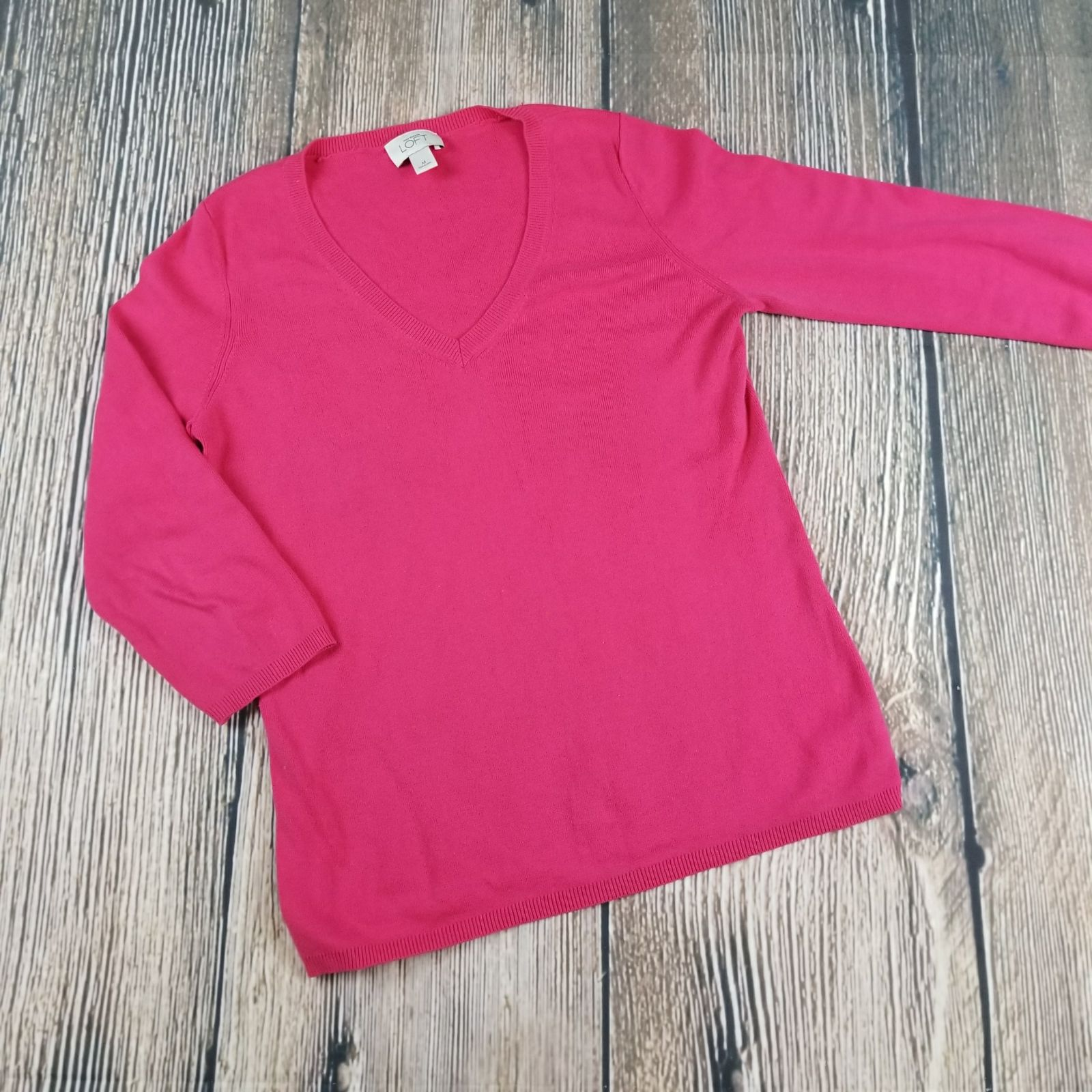 ANN TAYLOR LOFT v-neck hot pink sweater - Mercari: BUY & SELL ...