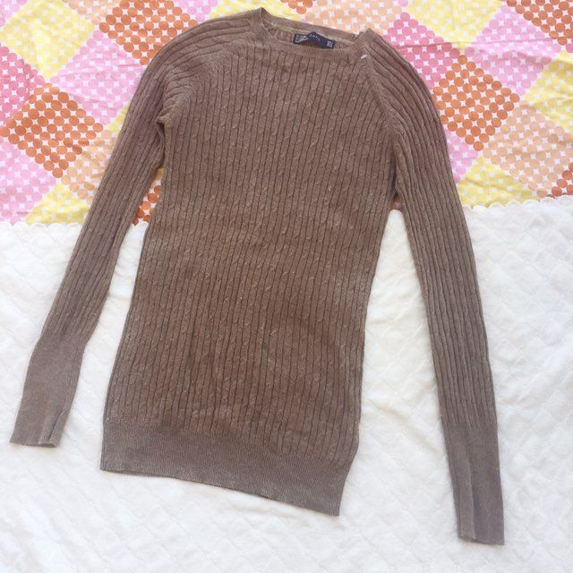 Zara Brown Fitted Sweater Size S - Mercari: BUY & SELL THINGS YOU LOVE