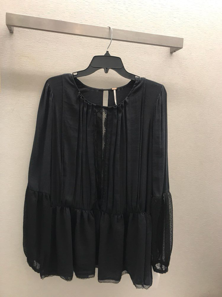 NWT Free People Soul Serene Black Blouse