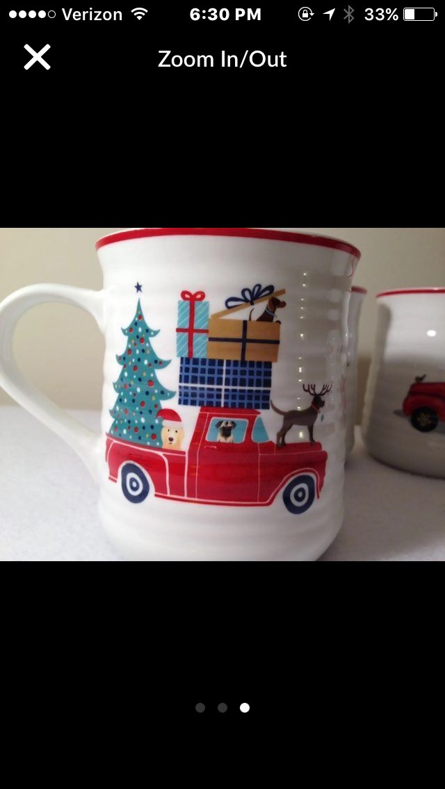 Red Pickup Truck Tree Mugs 4) Christmas