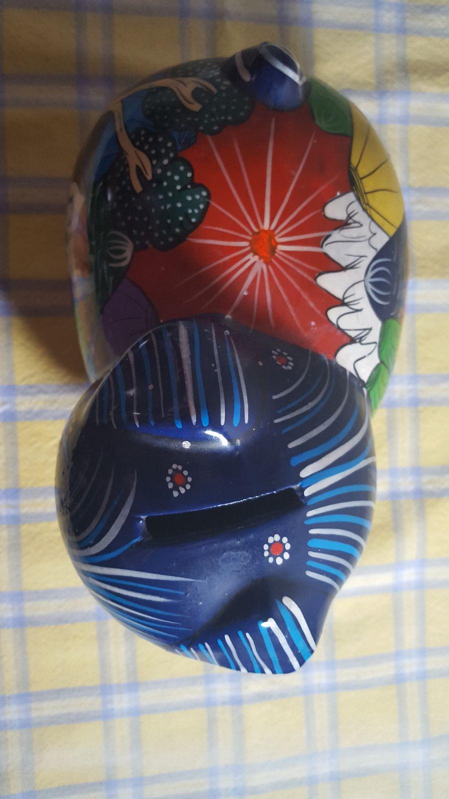 Mexican Handcraft Clay Piggy bank.