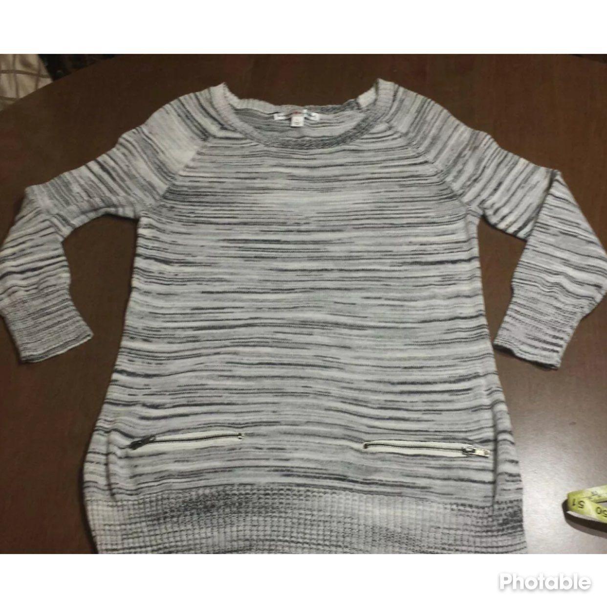 Gray Cotton Tunic Sweater Zipper Pockets - Mercari: BUY & SELL ...