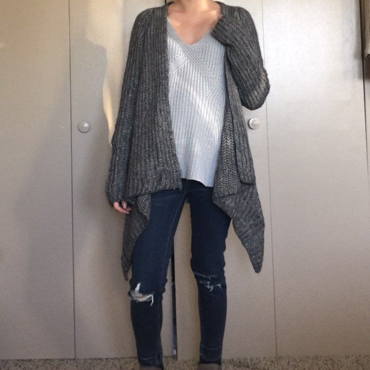 H&M Grey Chunky Knit Waterfall Cardigan - Mercari: BUY & SELL ...