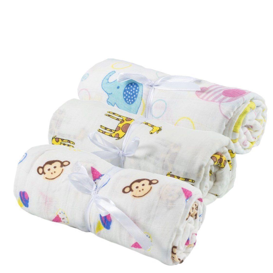 Premium 100% Organic Cotton 3 Swaddles