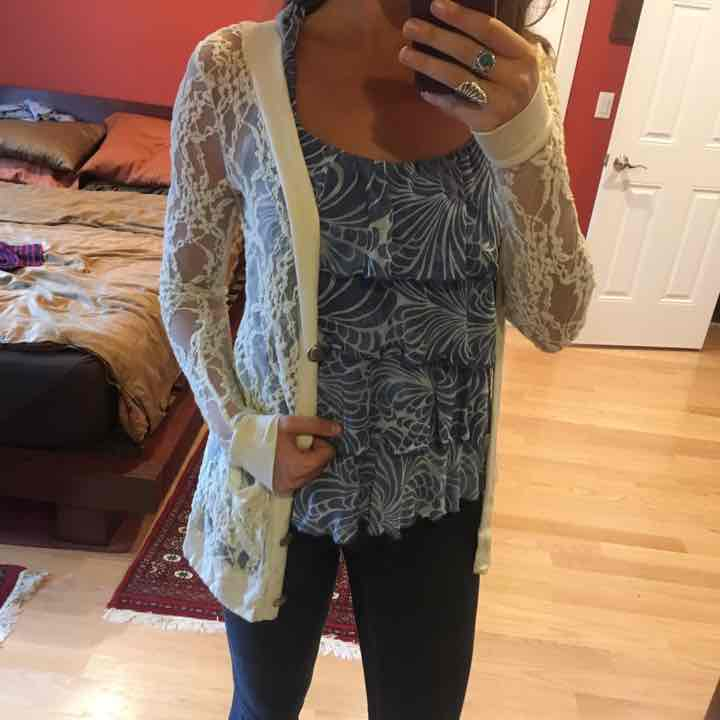 Off white lace button up cardigan - Mercari: BUY & SELL THINGS YOU ...