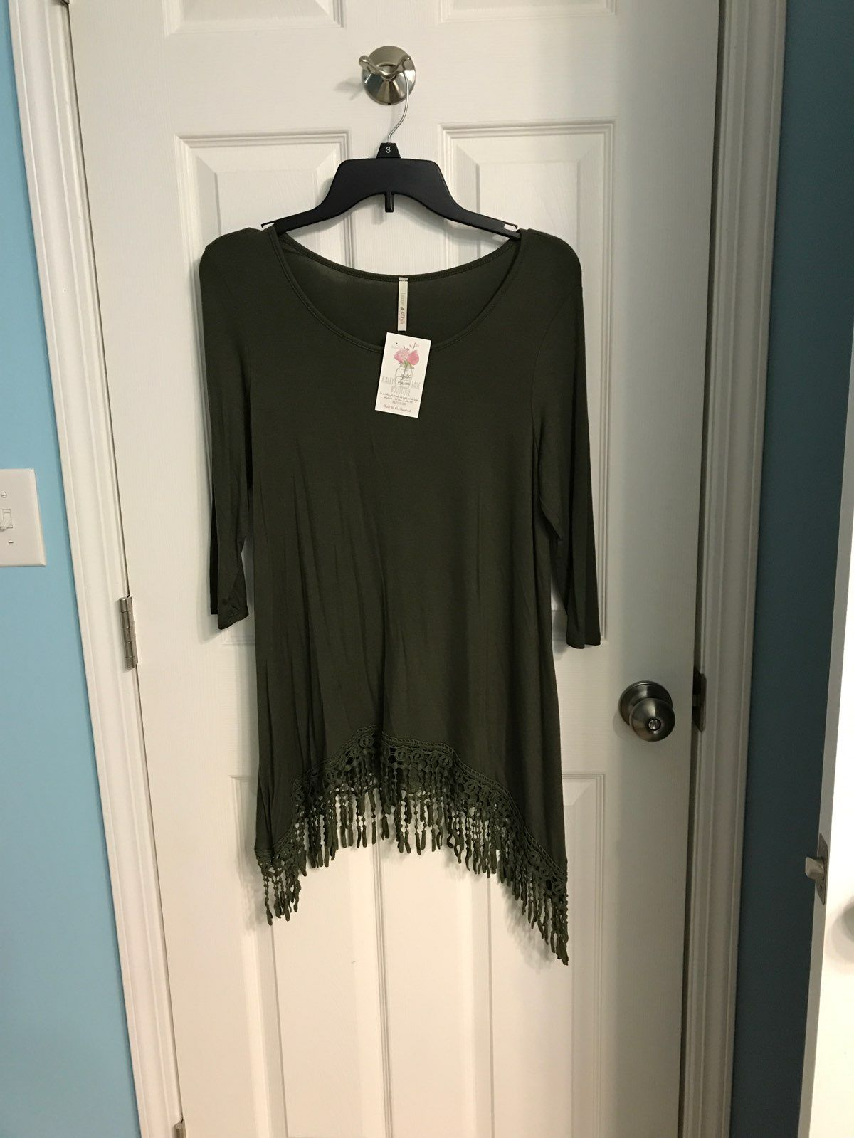 Boutique Olive Green Fringe Shirt
