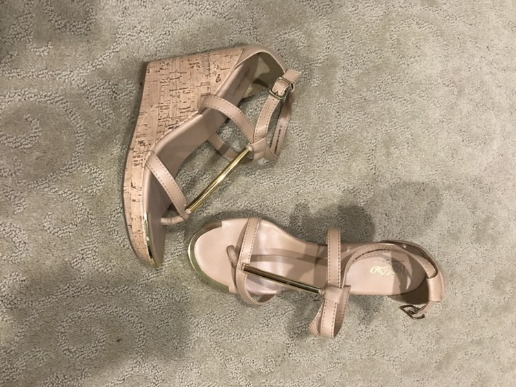 Nude And Gold T Bar Wedge Sandal Heel