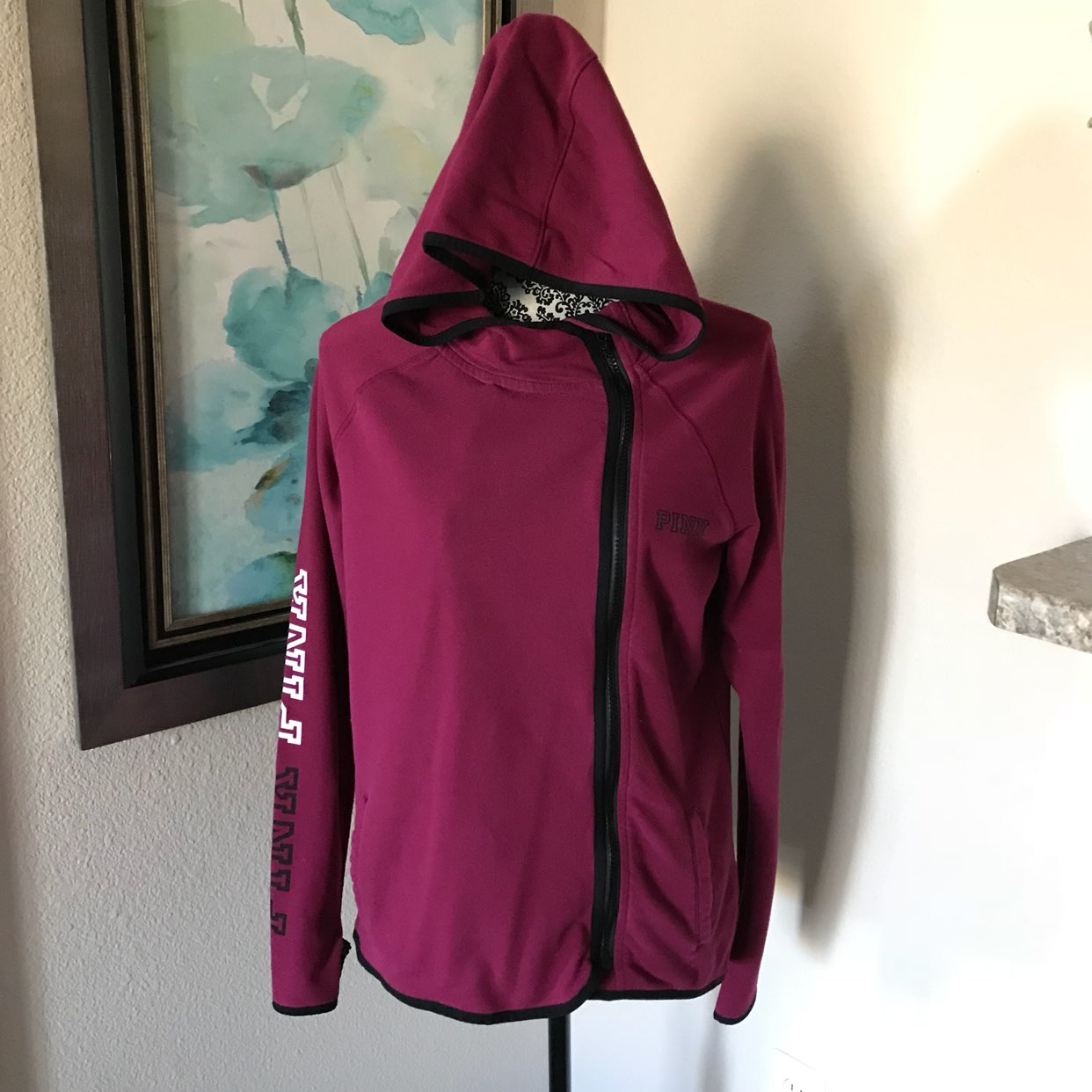 VS PINK Maroon Side Zip Up Sweater XS - Mercari: BUY & SELL THINGS ...