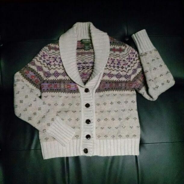 Cream/Gray Fair Isle Cardigan Sweater - Mercari: BUY & SELL THINGS ...