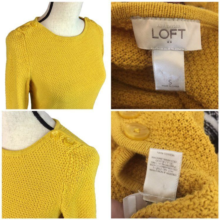 LOFT Mustard Yellow Pullover Sweater - Mercari: BUY & SELL THINGS ...