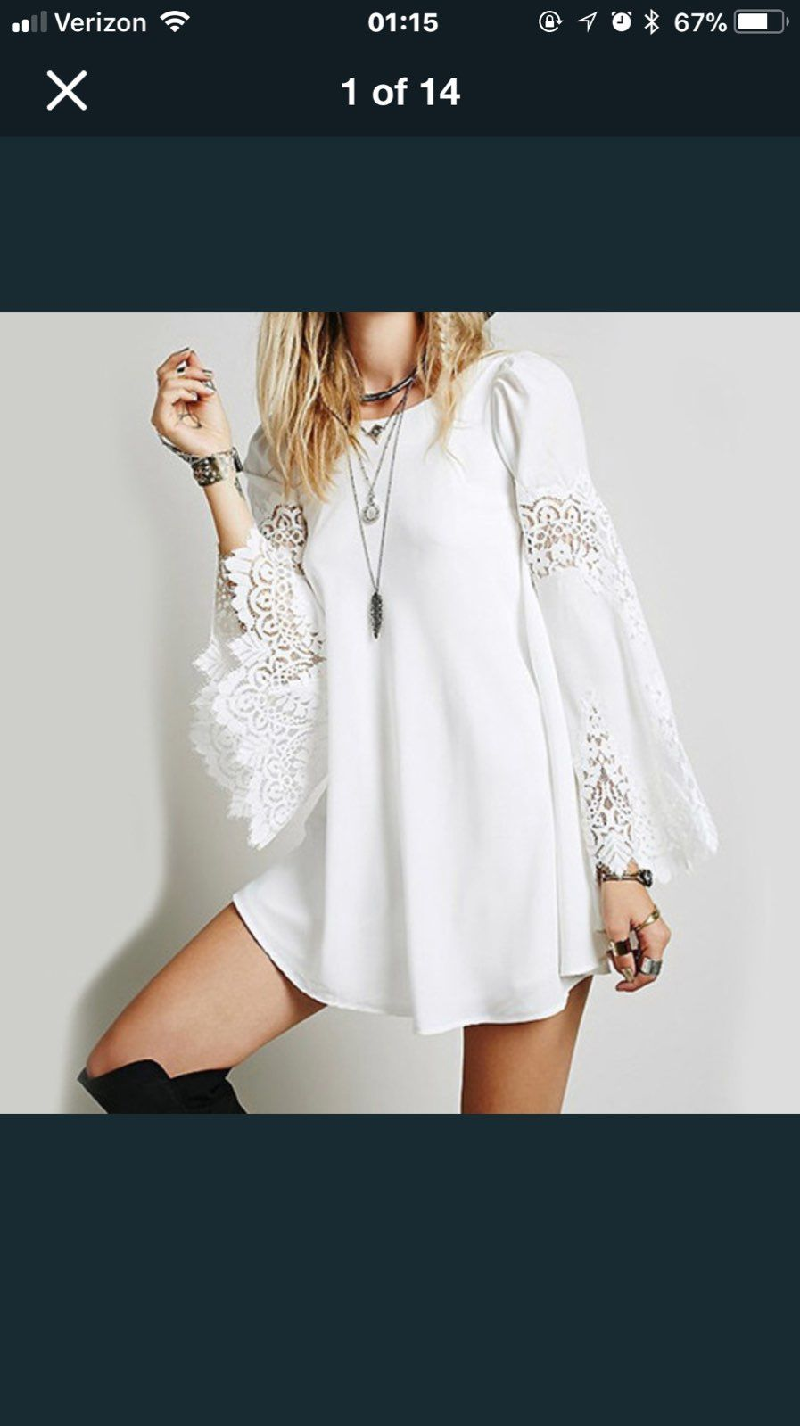 White Long Sleeve Lace Dress
