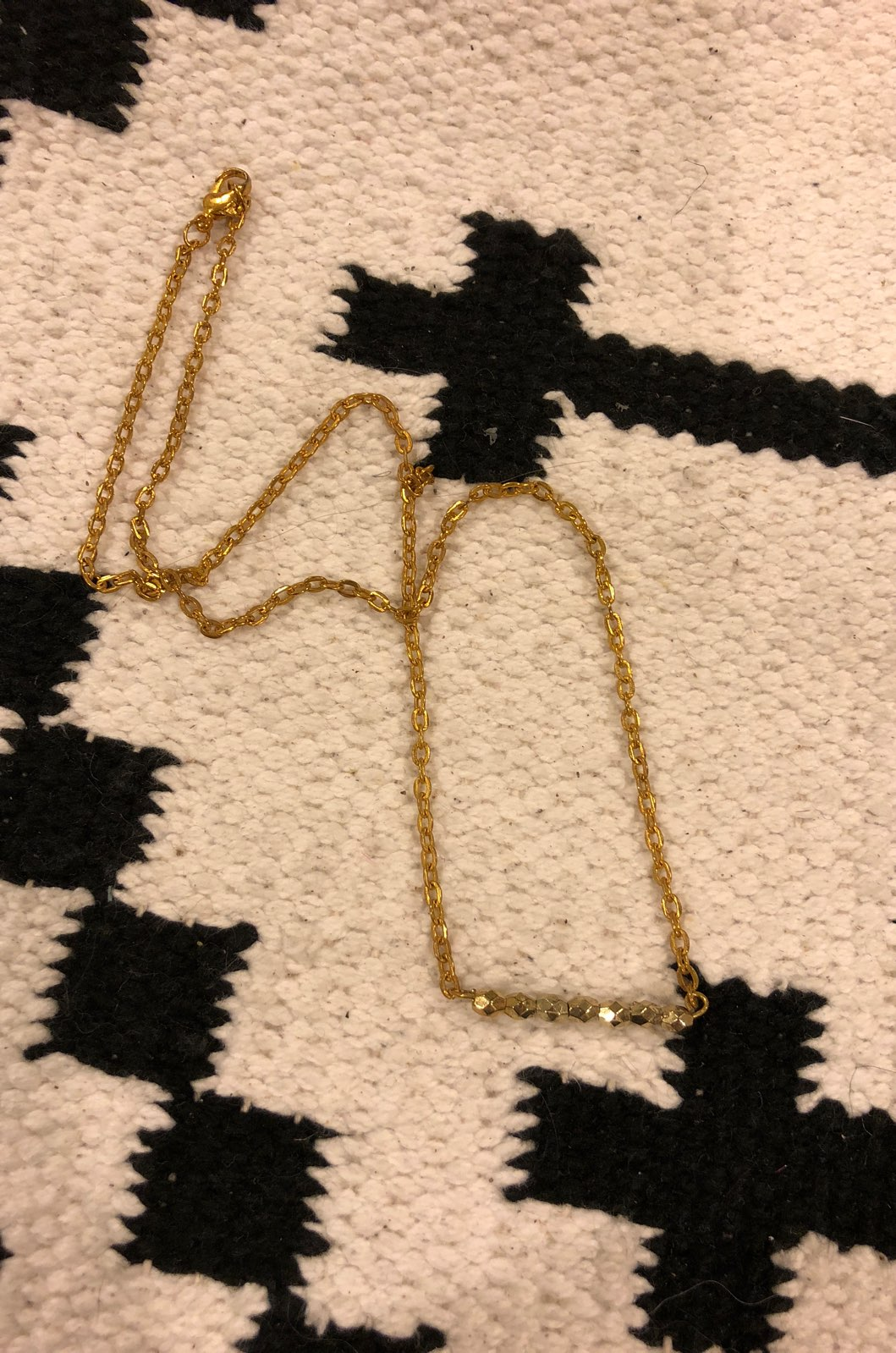 New Gold Beaded Bar Necklace
