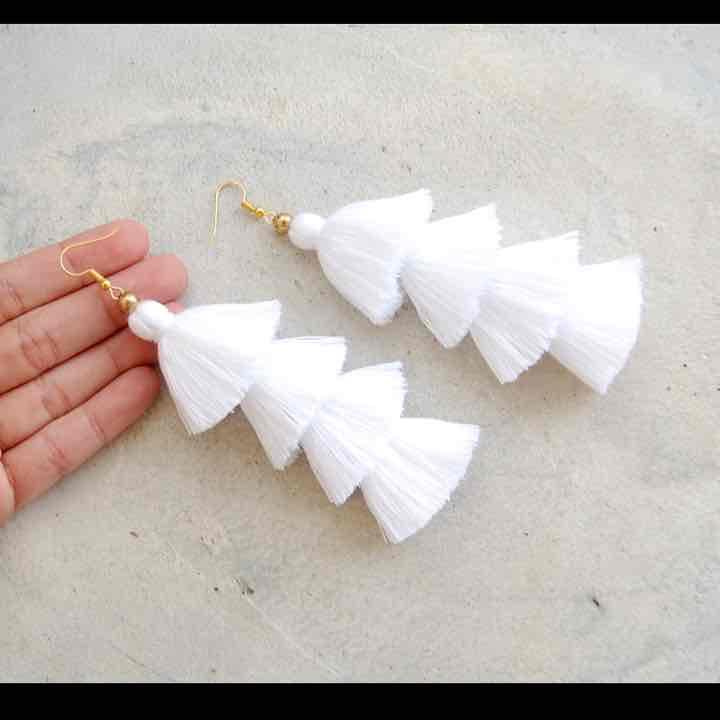 New four layer white tassel earrings