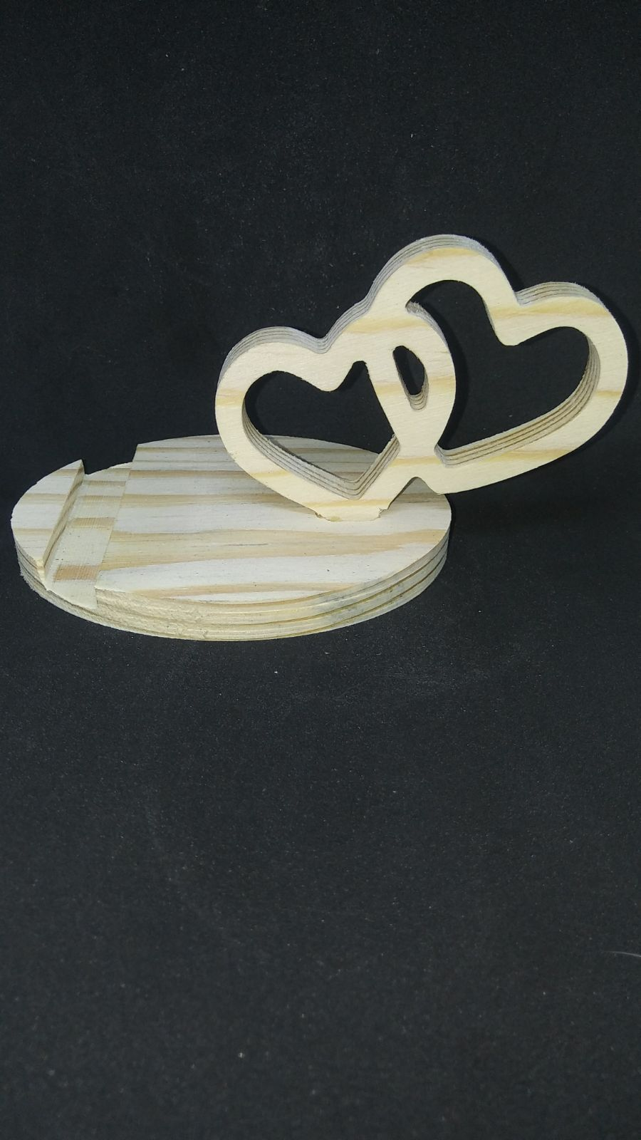Wood Phone Stand - Double Heart