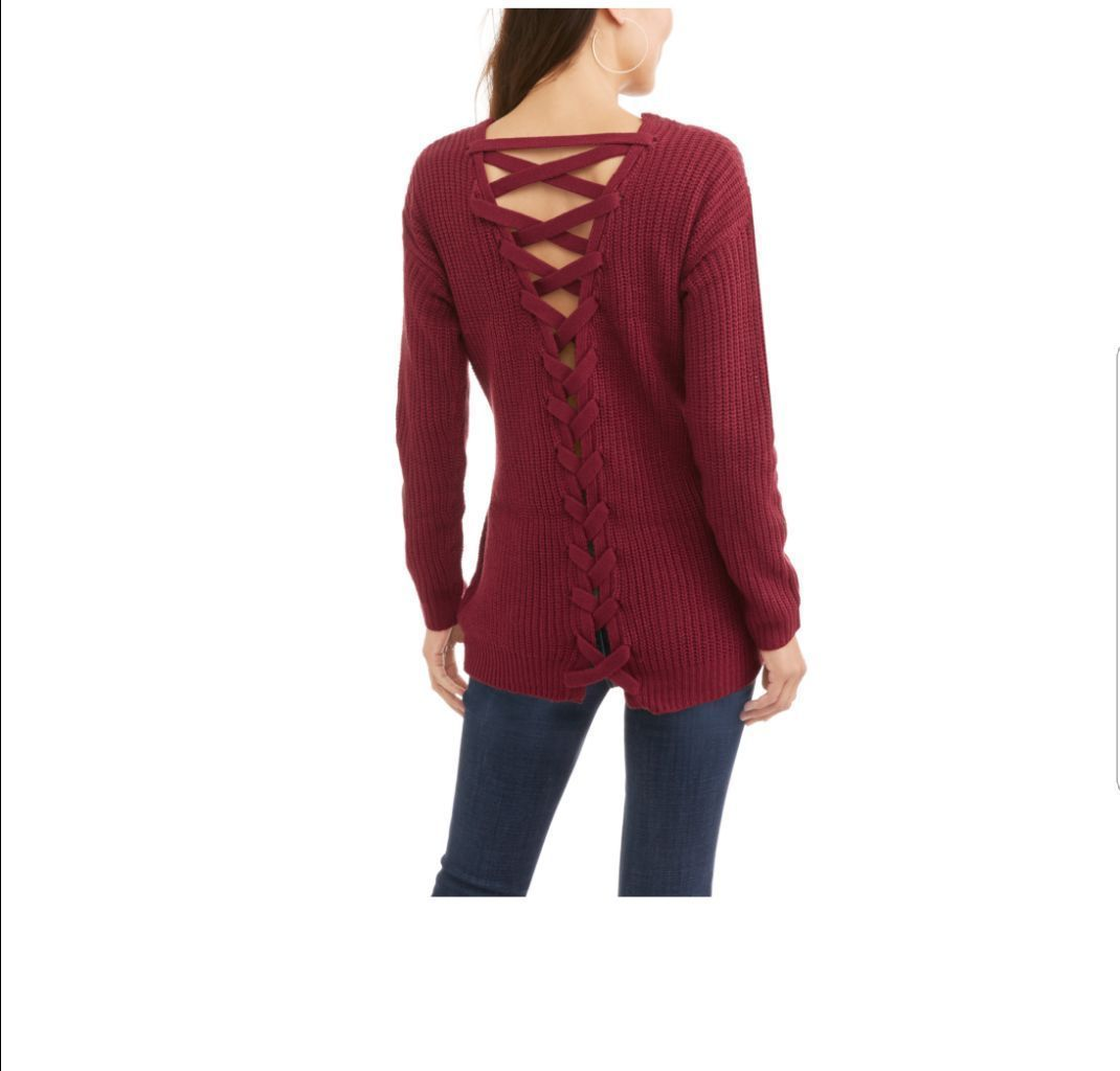 Burgundy Lace Up Pullover Sweater NWT - Mercari: BUY & SELL THINGS ...