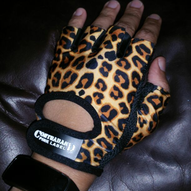 Contraband leopard print lifting gloves