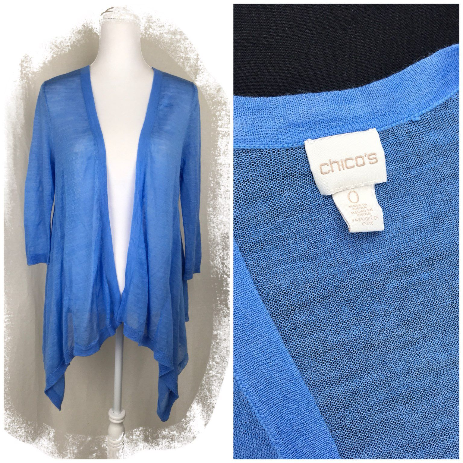 Chico's Blue Sheer Cardigan Size S - Mercari: BUY & SELL THINGS ...