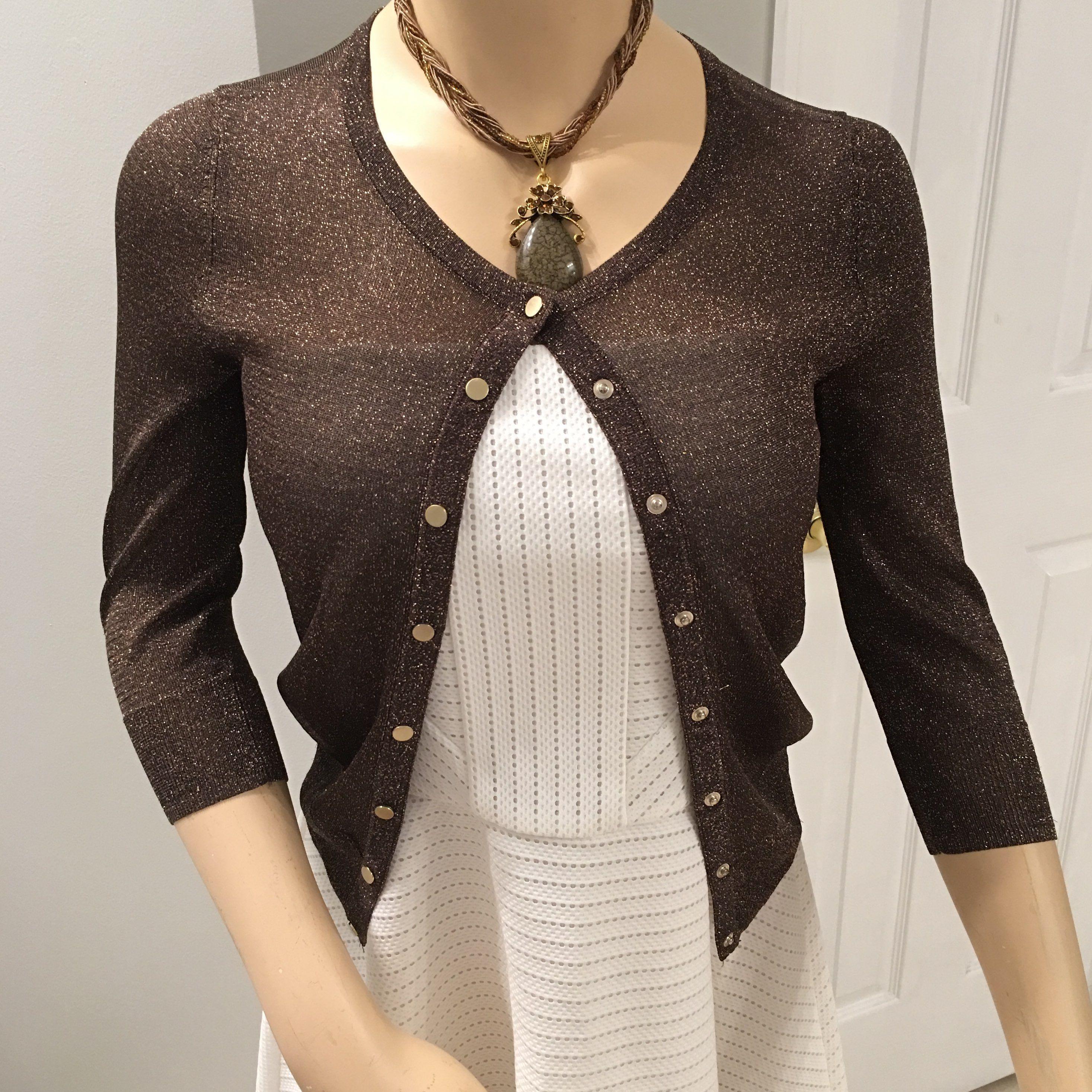 WHBM Brown/Gold Shimmer Cardigan XS - Mercari: BUY & SELL THINGS ...