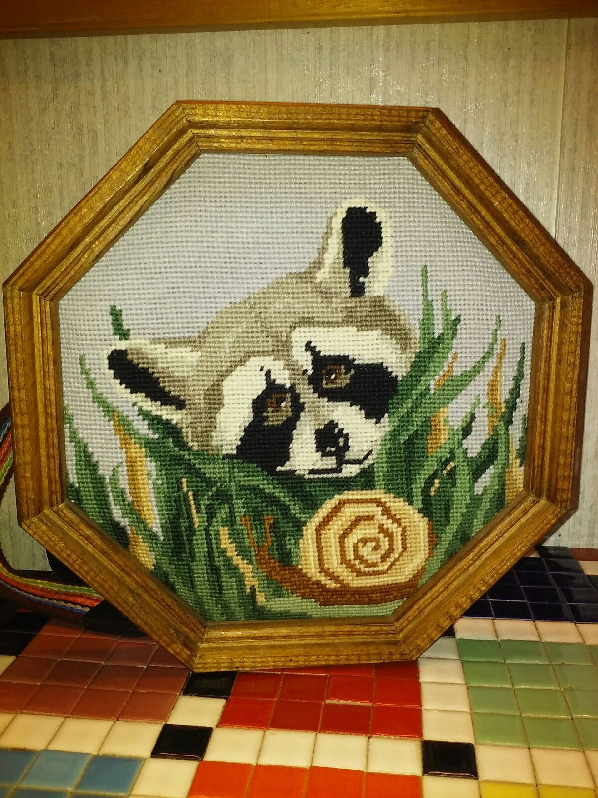 Hexagonal Racoon and Snail Stitch Frame