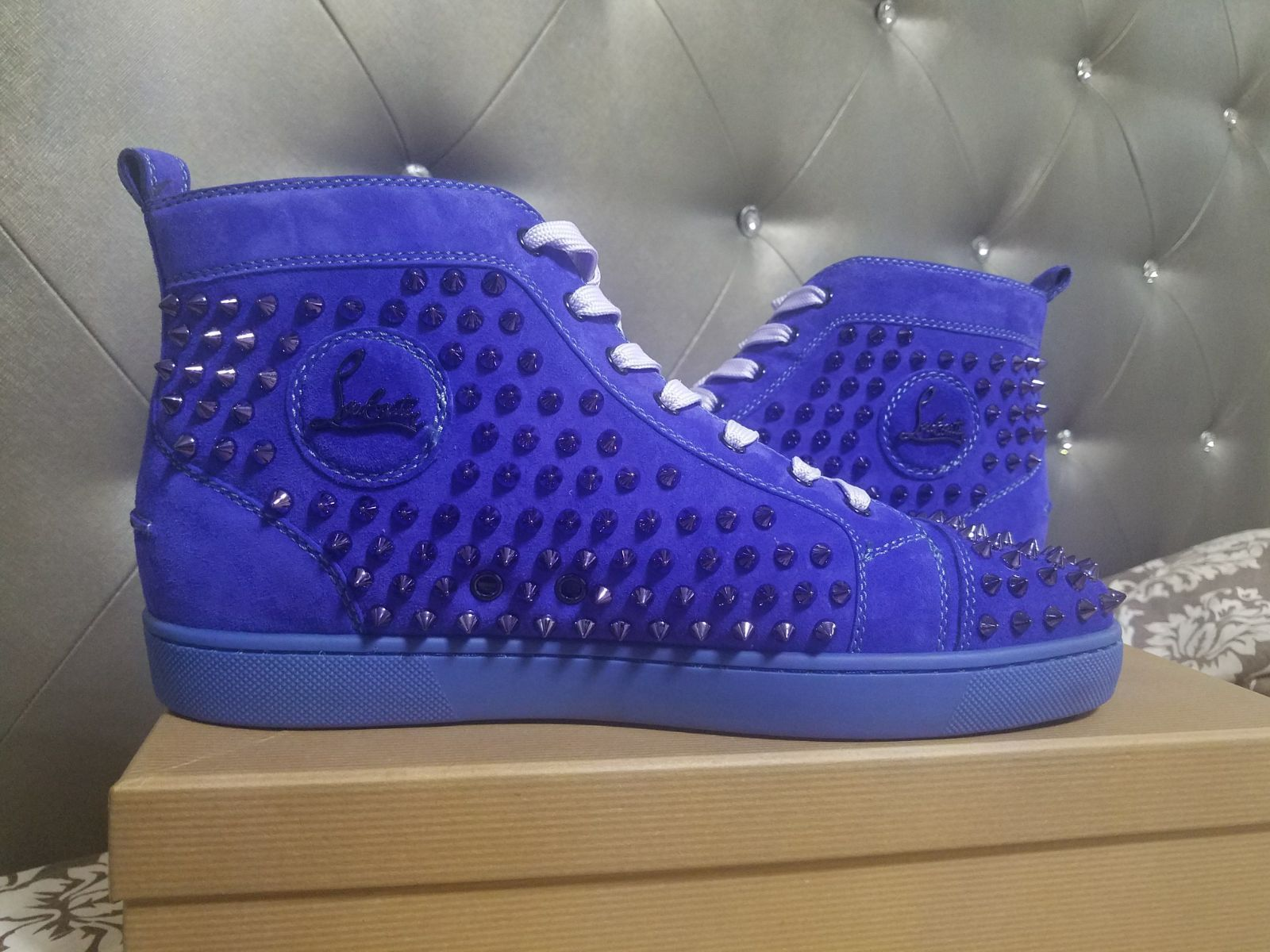 Mens Christian Louboutin Blue Suede