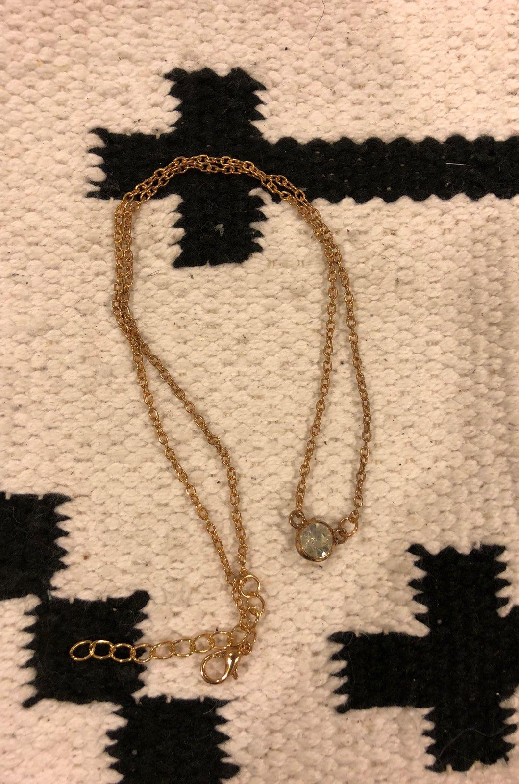 New Single Diamond Bezel Gold Necklace