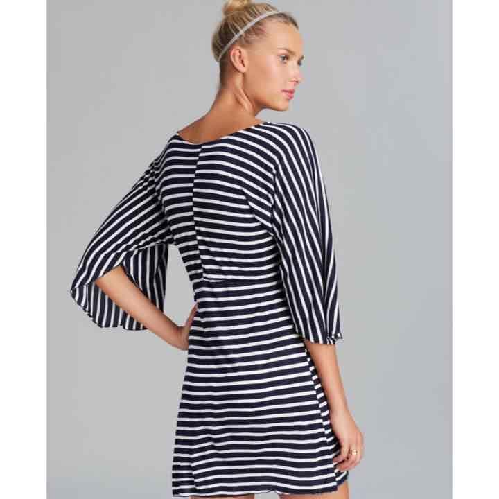 Striped v neck beach cover up