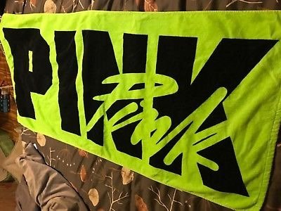 VS Pink neon lime green beach towel
