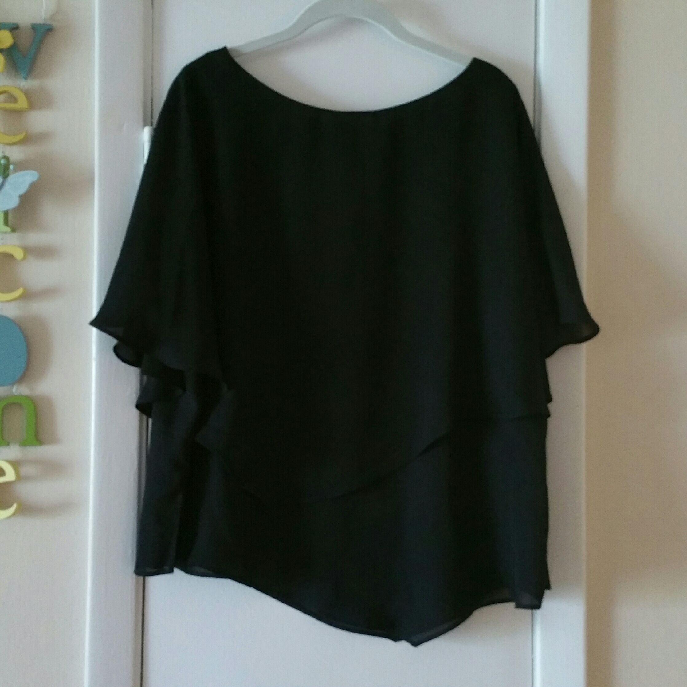 Dressy women's blouse, black,18W
