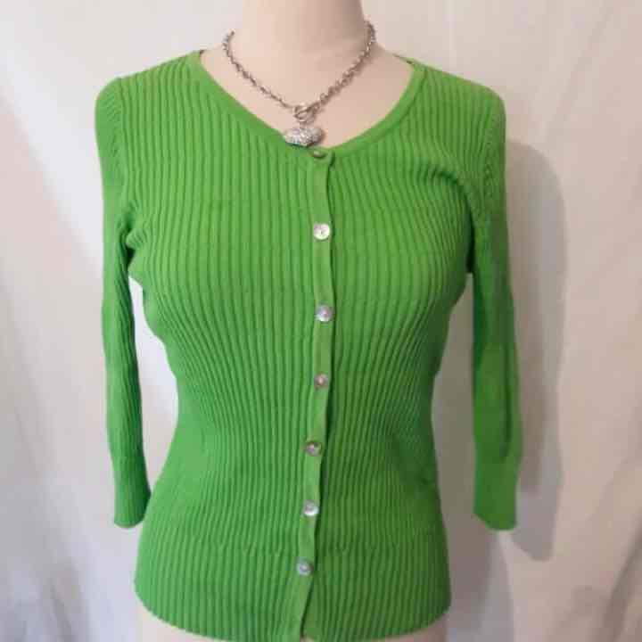 Women's Lime Green Cardigan Sz Large - Mercari: BUY & SELL THINGS ...