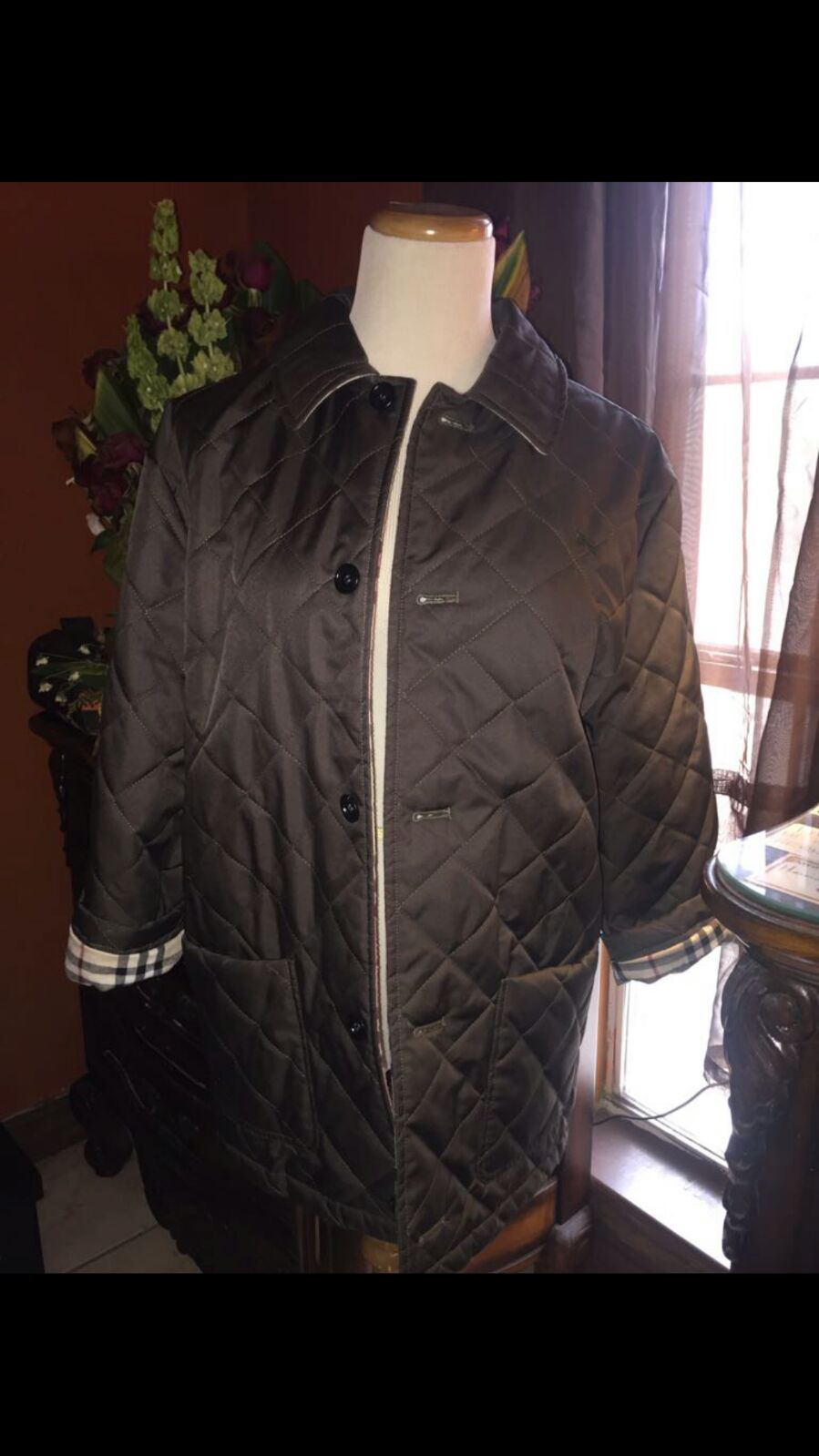 Olive 3/4 burberry quilted jacket