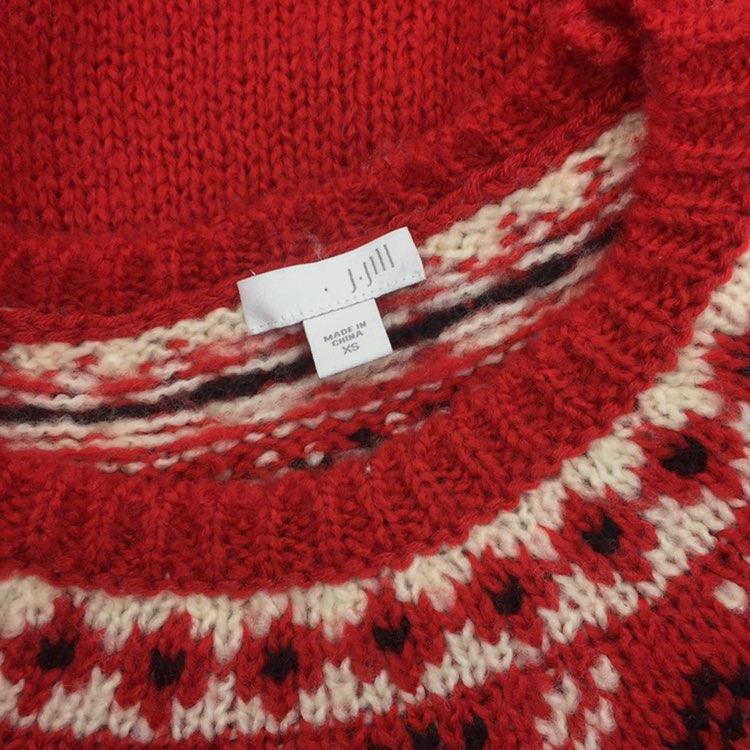 J. Jill Size XS Fair Isle Sweater Red - Mercari: BUY & SELL THINGS ...