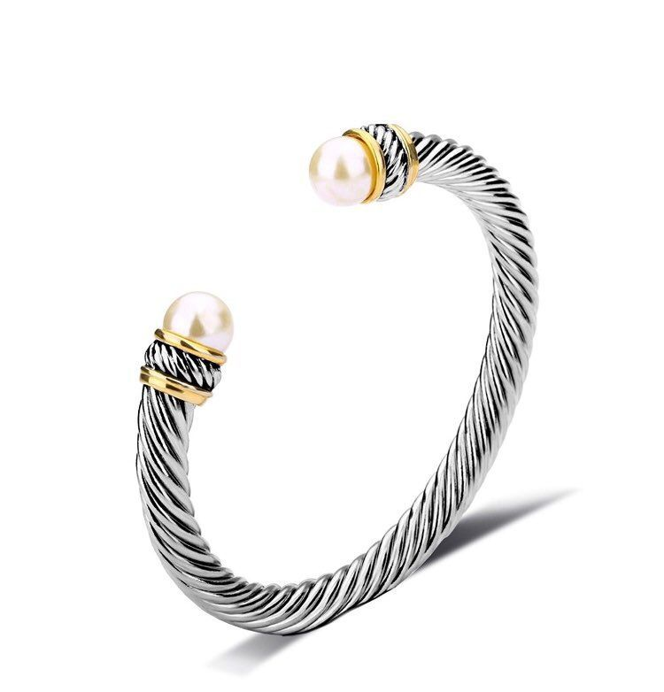New Silver Pearl Twisted Cuff Bracelet