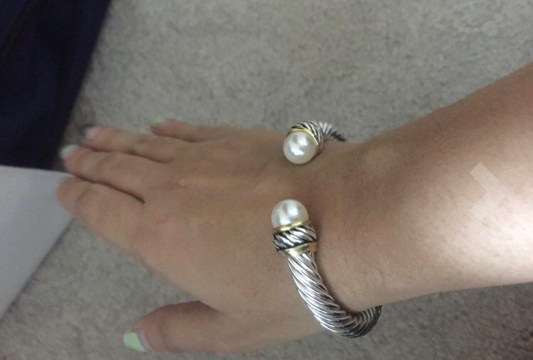 New Silver Pearl Twisted Cuff Bracelet